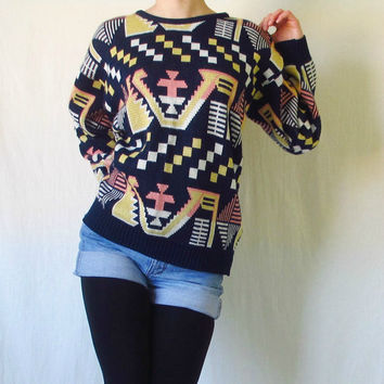 Vintage Aztec Sweater 1980s Tribal Geometric by ItchforKitsch