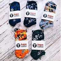 BAPE AAPE Trending Unisex Stylish Embroidery Camouflage Comfortable Breathable Pure Cotton Sport Socks - Boxed