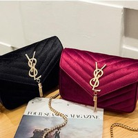 Women Retro Rhombus Velvet Letter Metal Chain Single Shoulder Messenger Bag Small Square Bag