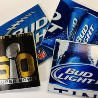Bud Lt Beer Coasters- Set of (4) Beer Coasters- Man Cave Beer Coasters