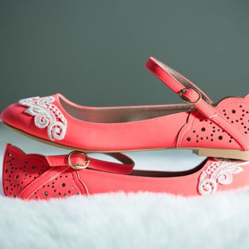 Neon Coral Ballet Flats, Wedding Flats, Bridal flats, Lace Flats, Wedding Shoes with Ivory Lace. US Size 10
