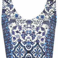 Flower Garland Bralet - Blue