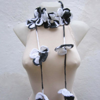 Handmade crochet Lariat Scarf  Black White  Flower Lariat Scarf Colorful Variegated Long Necklace  winter fashion