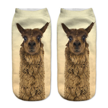 3D Women Socks Polyester Funny Brown Llama Theme Toe Socks High Quality Warm Socks