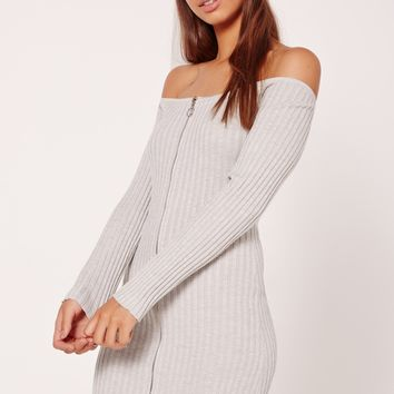 Missguided - Zip Through Bardot Long Sleeve Mini Dress Grey