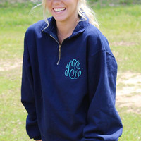 Monogram Quarter Zip Jackets, Monogrammed jacket, Personalized, School, Sports, Warm, Jacket, Pullover