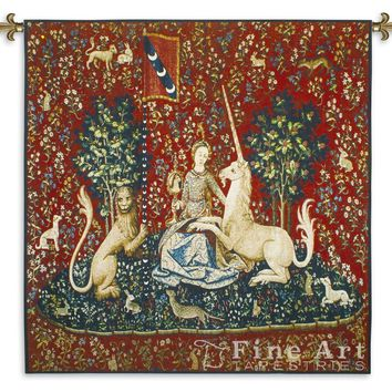 Lady with Unicorn Sense of Sight Woven Wall Tapestry 53W