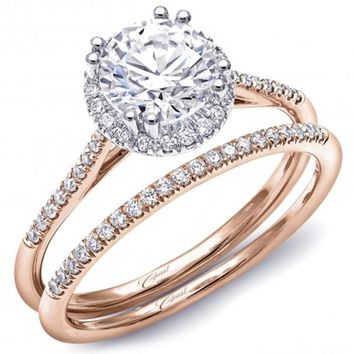 Coast Rose Gold Round Halo Thin Shank Diamond Engagement Ring
