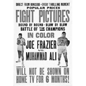 Joe Frazier Muhammad Ali Fight Poster Standup 4inx6in black and white