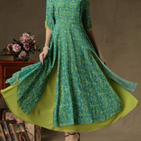 Green Bohemian Half Sleeve Chiffon Maxi Dress