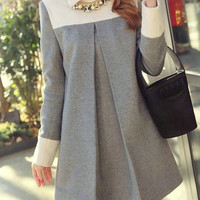 Flat Collar Long Sleeves Color Splicing Woolen Dress