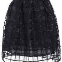 Plaid Organza Mini Skirt