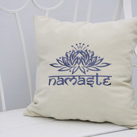 Personalized Pillow Covers Lotus Flower Namaste Yoga Meditation Pillowcase Decorative Pillow Cover Throw Pillows Yoga Studio Decor Gift V20