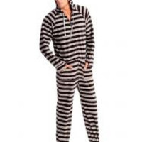 Black and Grey Striped Adult Footed Onesuit Pajamas