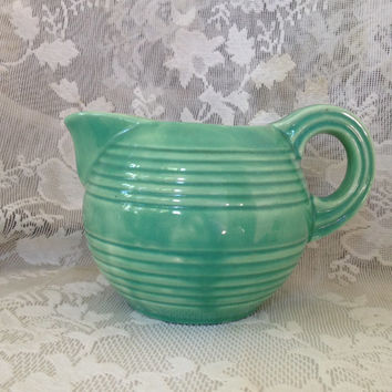 STANGL Pottery Pint Jug Pitcher 1902 Mint Green Vintage 1930s Ceramic Collectible Farmhouse Cottage Shabby Kitchen Decor