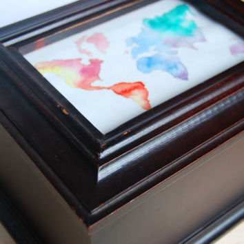Travel Keepsake/Memory wooden box with watercolor world map / plus 2 Travel Journals etc.