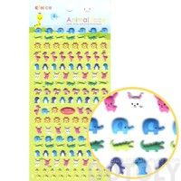 Elephant Crocodile Giraffe Flamingo Penguin Bunny Shaped Mixed Animals Themed Puffy Stickers