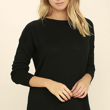 Cozy Time Black Lace-Up Sweater