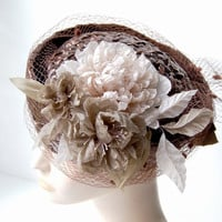Vintage inspired beige and olive fabric flower hair fascinator