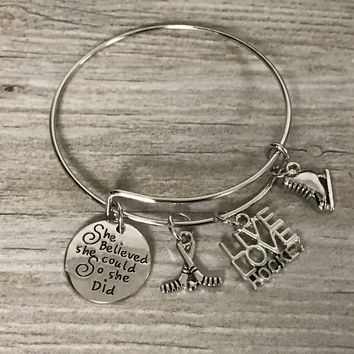 Girls Hockey She Believed She Could So She Did Bangle Bracelet