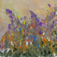 Lupin Wildflower Floral Garden Landcape Original monotype hand pulled print painting with mat.