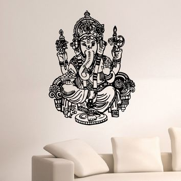 Wall Decal Vinyl Sticker Animal Elephant Ganesha Hindu Indian Decor Sb306