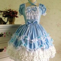 free ship short sleeve cotton blue lolita dress maid Medieval Renaissance Dress belle ball cosplay/lolita/alice costume frenchmaid costume