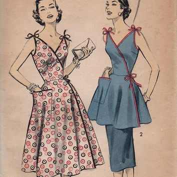 Retro Vintage 1950s Advance Sewing Pattern 7811 Side Wrap Dress Tunic Apron Dress Swing Era Full Skirt Uncut Bust 30