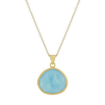 Gold Over Sterling Silver Oval Blue Chalcedony Pendant Necklace