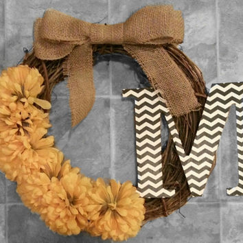 Grapevine Wreath with Yellow Dahlias, a Chevron Initial & a Double Burlap Bow