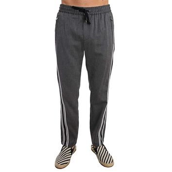 Dolce & Gabbana Gray Wool Casual White Strip Pants