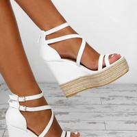 Sundance White Platform Wedges