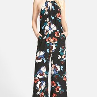 Women's ASTR Floral High Neck Wide Leg Jumpsuit ,