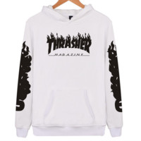 """Thrasher"" flame pattern loose hooded  sweater long-sleeved skateboard white black flame"