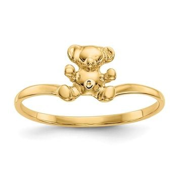 14K Yellow Gold Childs Polished Teddy Bear Ring