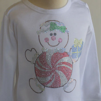 4T 5T 6 8 10 12 Gingerbread Candy Peppermint rhinestone Christmas hoiday t-shirt