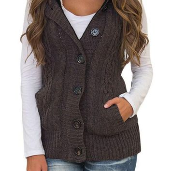 Women Brown Cable Knit Hooded Sweater Vest