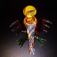 Vivid Color Changing Glass Bat Flying Smoking Pipe Bowl