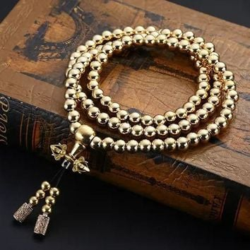 108 Buddhism Beads Bracelet for Men Copper Brass Mens Hiphop Punk EDC Metal Beaded Bracelet Gold Necklace Pendant Jewelry Gift