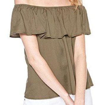 Sanctuary Misha Off-The-Shoulder Blouse Green Small