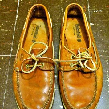 Vintage Timberland Burnt Orange Leather Boat Shoes by IndigoTribe