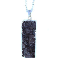 Amethyst Silver Plated Druzy Pendant Necklace