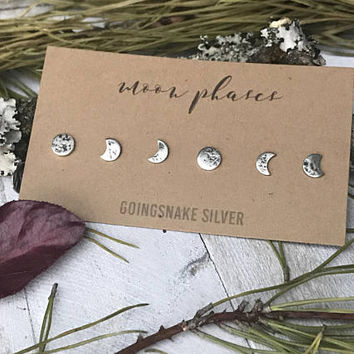 Moon Phase Earrings Set - Sterling Silver - Handmade Earrings - Post Earrings - Lunar Cycle - By Ashley Goings
