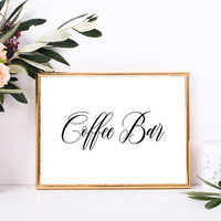 Coffee bar ideas - Coffee bar sign, Wedding coffee bar sign, Coffee bar decor, Rustic elegance wedding reception decor, Rustic chic wedding