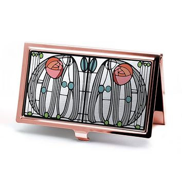 Mackintosh Rose Business Card Holder in Rose Gold