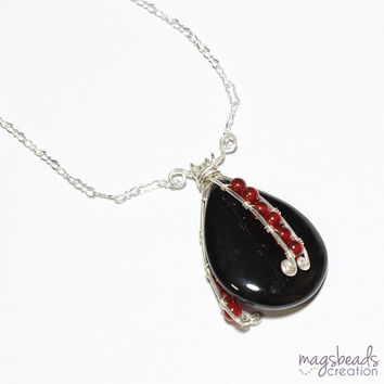 Wire Wrapped Carnelian & Black Onyx Necklace, Gemstone Beads and Sterling Silver Chain Necklace