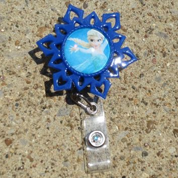 Elsa Frozen Snowflake Blue/White Id Retractable Reel Badge Holder