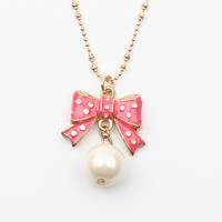 BJ Pink Bow Pearl Pendant Necklace