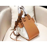 Loewe sells casual lady shopping bag fashion canvas patchwork color hammock shoulder bag