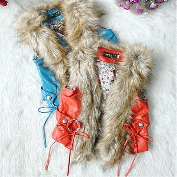 New fashion Girls' Faux Fur Vest Autumn Children's Waistcoat 2 colors child jacket